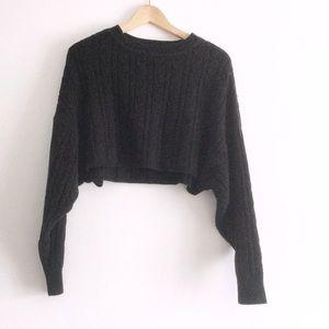 Garage Black Knit Crop Sweater XS